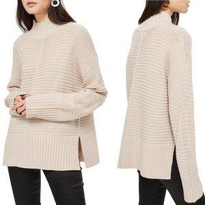 Topshop Mock Neck Sweater Garter Chunky Knit